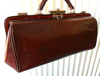 Antike Leder Arzttasche Doktortasche Tasche Sacvoyage Hebammentasche um 1900 8