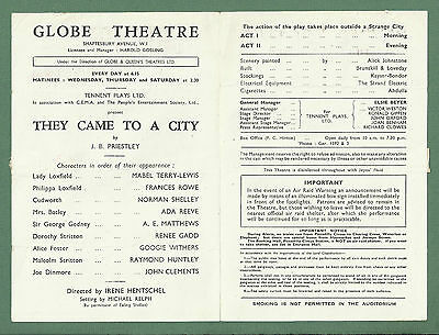 C1943 Globe Theatre Programme - They Came To A City - Googie Withers Etc 2