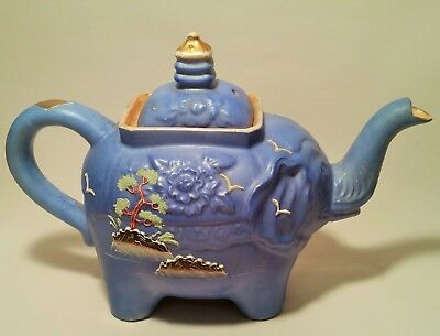 BLUE satsuma elephant teapot vtg japanese pagoda bonsai temple porcelain pottery