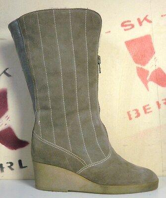 ARA DAMEN STIEFEL Boots Grau Wildleder Futter Biberlamm True