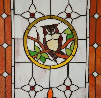"20"" x 34"" Large Tiffany Style stained glass window panel owl on the tree 8"