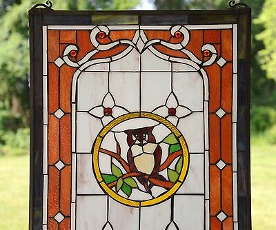 "20"" x 34"" Large Tiffany Style stained glass window panel owl on the tree 6"