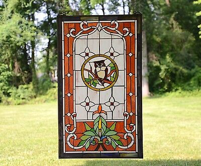 "20"" x 34"" Large Tiffany Style stained glass window panel owl on the tree 5"