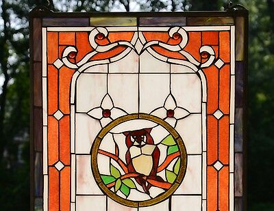"20"" x 34"" Large Tiffany Style stained glass window panel owl 2"
