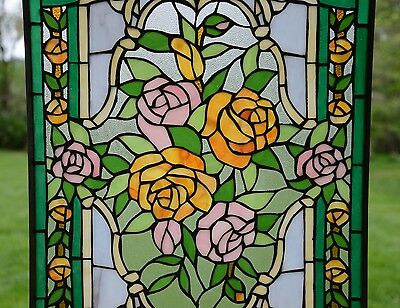 "Rose Flower Tiffany Style stained glass window panel,  20"" x 34"" 5"