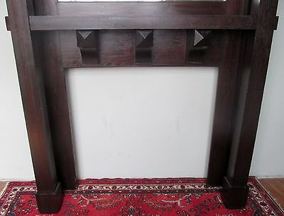 Antique Rare Mission Oak Arts & Crafts Mantle In Fumed Original Finish 5