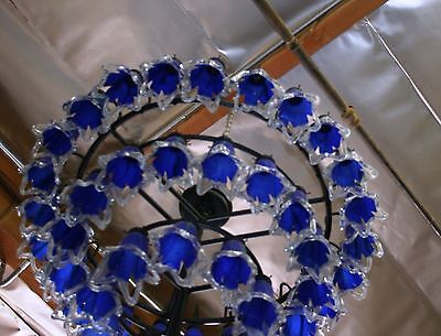 Art Deco Style 4 Level Wrought  Iron Chandelier & 54 Flowing Blown Glass Shades 5