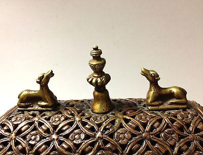 Antique Tibetan Art Box + Lid Metal Symbol Medalion Traditional RARE Collectable 3