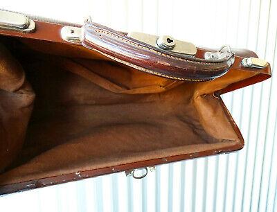 Antike Leder Arzttasche Doktortasche Tasche Sacvoyage Hebammentasche um 1900 11