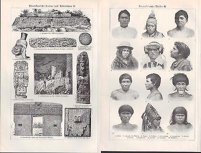 Lithografie 1924, Amerikanische Kultur. Völker. Charakter-Tiere. U.S.A. Kunst 2