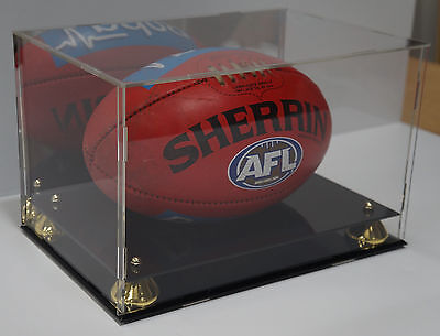 Deluxe Acrylic Afl Football Display Case With Gold Risers And Mirror Back Finish