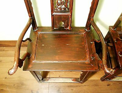 Antique Chinese High Back Arm Chairs (5683) One Pair, Circa 1800-1849 3