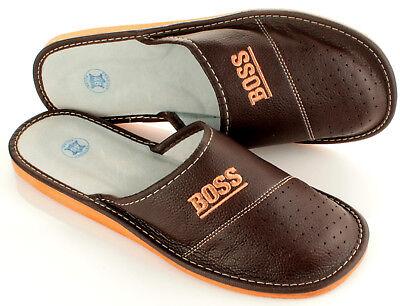 """Herren """"BOSS"""" Hausschuhe aus LEDER Pantoffeln Latschen Pantoletten Gr. 32-50 NEU 3"""