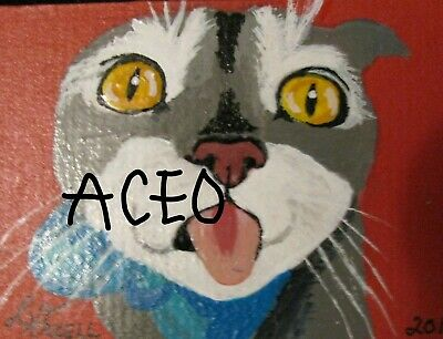 """A834        Original Acrylic Aceo Painting By Ljh  """"Frankie""""  Cat  Kitten 9"""