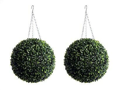 Best Artificial Pair of Green Boxwood Buxus Topiary Ball grass hanging garden 5