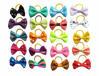 20Pc Mixed Hair Bows W/Rubber Bands For Small Dog Cat Grooming Bowknot Accessory 2