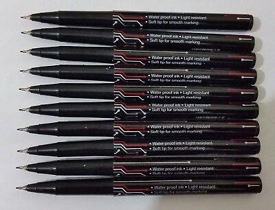 10 X EXTRA FINE TIP PERMANENT MARKER PENS BLACK CD / DVD Marker Pen - Best Price