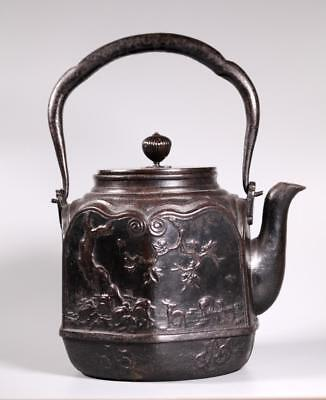 Japanese 19 C Cast Iron Tetsubin Teapot Signed Lot 455