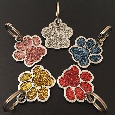 Pet ID Dog Tags Wavey 24mm Glitter Paw Design Discs With Free Engraving and P&P