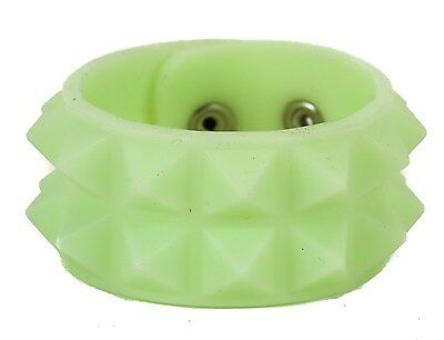 Cyber Two Row Stud Style Bracelet Glow In The Dark Punk Goth Retro Glam Clubware