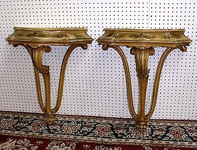 Antique Pair Carved Hand Painted Country French Wall Consoles Louis XV C1890 3