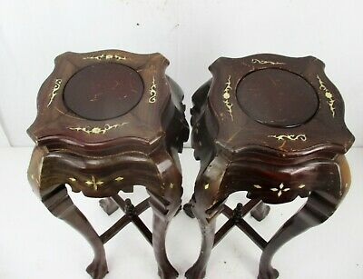 Pair Tall Carved Hard Wood Plant Bonsai Tables Pedestal  Inlay Mother of Pearl 5