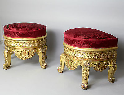 A Pair Of Large & Ornate Carved Gilt Wood Stools 3