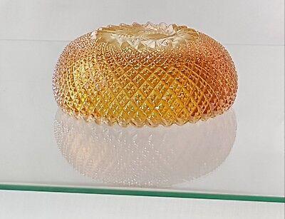 "Rare 6"" Sowerby Carnival Glass Bowl Pinwheel Pattern Marigold Colour 3"