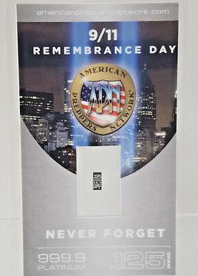 9/11 Remembrance Day PURE 99.9 Platinum .125 Gram Bullion w/COA NEVER FORGET +
