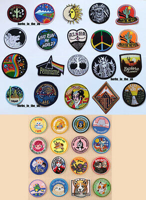 Popular Round Sew Iron On Patch Badge Transfer Fabric Jeans Applique Crafts 2