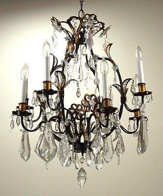 Vintage Estate Ornate Gilt Metal Vintage Crystal Chandelier 5