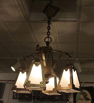 Arts & Crafts mission Hand Hammered hanging slag light glass Chandelier fixture 3 • CAD $5,398.56