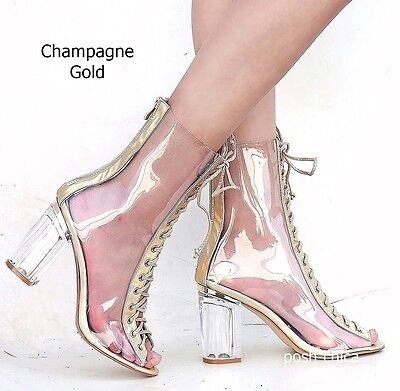 cef68acd7f35 ... New Women FC45 Rose Gold Peep Toe Lucite Clear Heel Lace Up Booties  Ankle Boots 5