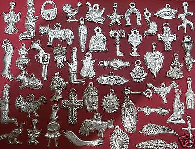 100 SILVER Assorted Mexican Folk Art Milagros Exvoto Nicho Retablo Charms 5