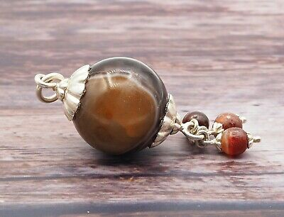 Old Eye Agate Indus Valley Sterling Silver Small Ancient Eye Agate Bead Pendant 3