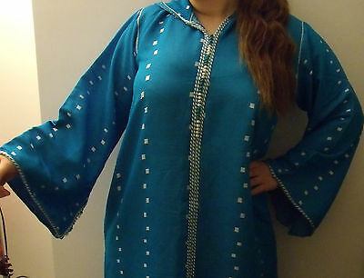 Moroccan     Djellaba    Kaftan      Blue & White   North African Dress 8