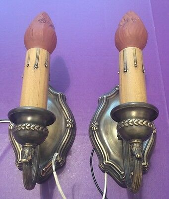Wired Pair Sconces Vintage Electric Candles Uniform Patina Great! 3