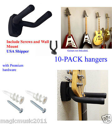 10PCS Pack Guitar Hangers Hook Holder Wall Mount Display Instrument For All Size