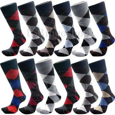 12 Pairs New Cotton Men Lords Argyle Style Dress Socks Size 10-13 Multi Color 2