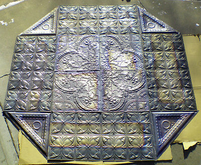 SALE Rare 34.5 x 34.5 Antique Ceiling Tin Tile Medallion Torches Shells Wall Art