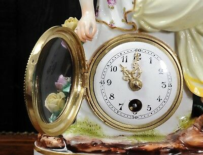 Rare Vienna Porcelain Boudoir Clock C1880 7