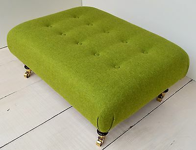 Choose /& Size Legs!! New Large Buttoned Footstool in ANY 100/% Wool Moon Fabrics