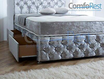 ULTRA MODERN CRUSHED VELVET DIVAN BED iBEX Plus, 3ft/4ft/4ft6/5ft, MADE IN UK 2