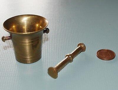 Alter Mörser & Stößel Pistill Miniatur Apotheke Messing Antik Vintage klein 12