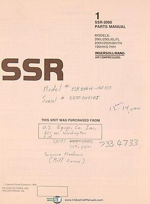 ingersoll rand ssr 2000, air compressor, parts list & equipment ...  picclick