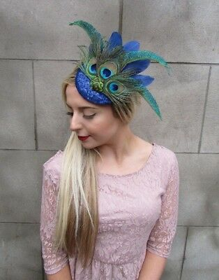 Royal Blue Sequin Peacock Statement Feather Fascinator Races Pillbox Hat 4999 3