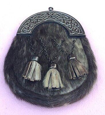 Mens Kilt Sporrans Seal Skin Celtic Cantle Antique/full Dress Kilt Sporrans 2