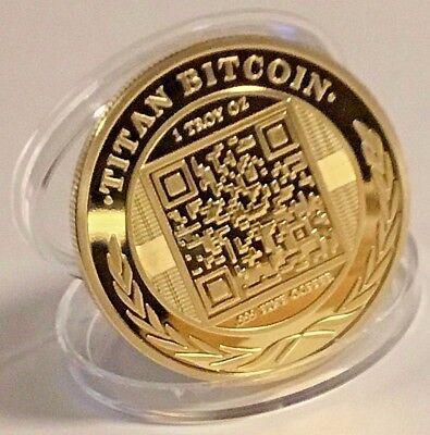 Bitcoin Gold Plated Titan Commemorative Coin BTC Collectible Physical WITH CASE 2