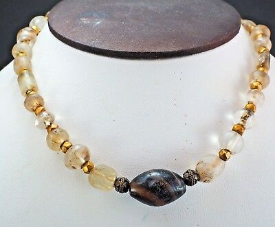 Original Ancient Roman Crystal Bead 22k Solid Gold Ancient agate Bead 1800yrs 3