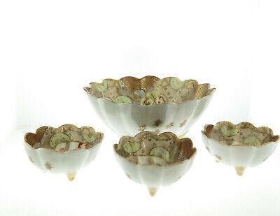 "Antique Japanese Kutani Hand Painted Porcelain Bowls 6"" and 3"" Set of 4 3"